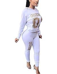 Women's 2 Piece Jumpsuit Outfits Active Tracksuit Sweatsuits Hoodie Crop Top + Pants Set Sportswear