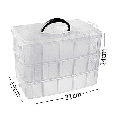 9da48b184 Buy DEZIINE 1 Unit 3 Layers, 30 Grids, Transparent Plastic Jewellery  Organizer Storage Compartment Box.(Dimensions: 19(H) x 24(B) x 31(L) cms)  Online at Low ...