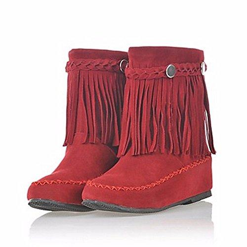 ZHUDJ Damenschuhe Herbst Winter Schnee Round Toe Booties Stiefel/Stiefeletten Niet Quaste Für Casual Rot Braun Schwarz Red