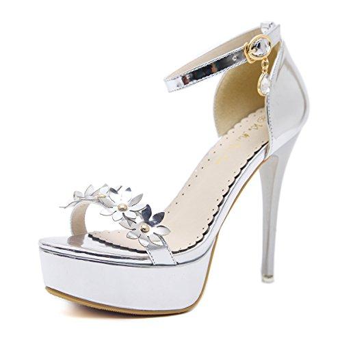 ZHZNVX Taiwán hembra impermeable sandalias de tacón alto nuevo impermeable sandalias femeninas de Taiwán Silver