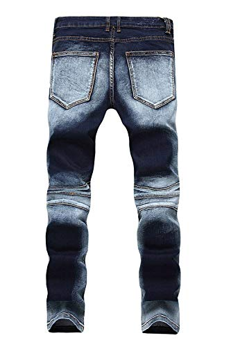 Moto Uomo Fit Biker Skinny Pantaloni Colour Denim Destroyed Strappato Vintage Casual Da Moderna Jeans Distressed qAntnWHEw