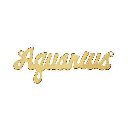 - Zodiac Stamping Pendant Link, Script Font Aquarius 16x41.5mm, 1 Piece, Gold Plated