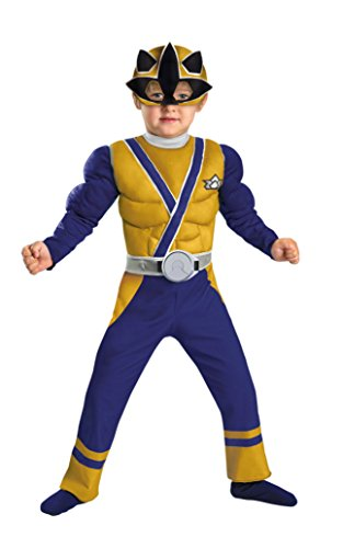 Boys Gold Ranger Samurai Muscle Kids Child Fancy Dress Party Halloween Costume, 1T-2T