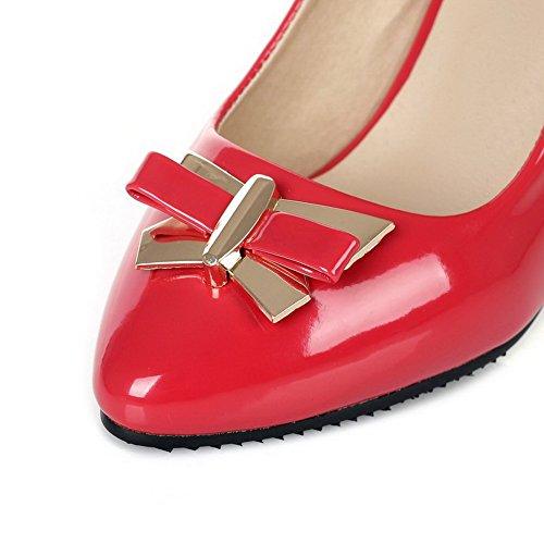 AllhqFashion Damen Rein Blend-Materialien Mittler Absatz Spitz Zehe Ziehen auf Pumps Schuhe Rot