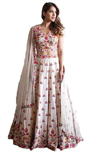 REKHA Ethnic Lehenga Choli Indian Women Designer Partywear Ethnic Traditional Lehenga Choli Wedding Wear Lehenga 13 White