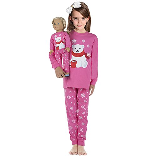 Babyroom Girls Matching Doll&toddler Christmas Pajamas 4 Piece Cotton Toddler Clothes Kids Pjs Size 6t