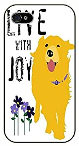 iPhone 5C Live with joy. Floral and dog - black plastic case / dog, animals, dogs