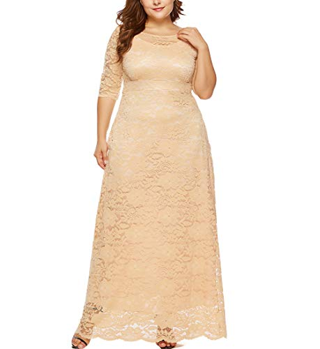 Eternatastic Womens Floral Lace 2/3 Sleeves Maxi Dress Evening Party Long Dress 3XL Beige