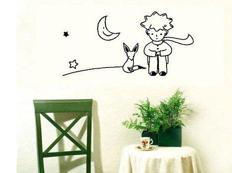 Still Fox Foil - Dailinming The Little Prince Fox Moon Star Decor Mural Art Wall Sticker Decal43X26CM
