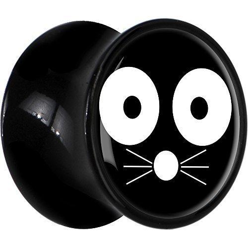 20 mm acrílico negro de cara de gato triquitos sillín enchufe monocromáticas: Body Candy: Amazon.es: Joyería