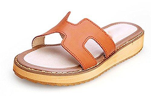 H Pantoffeln dicke Kruste Muffin beiläufige flache Sandalen Wort Drag brown