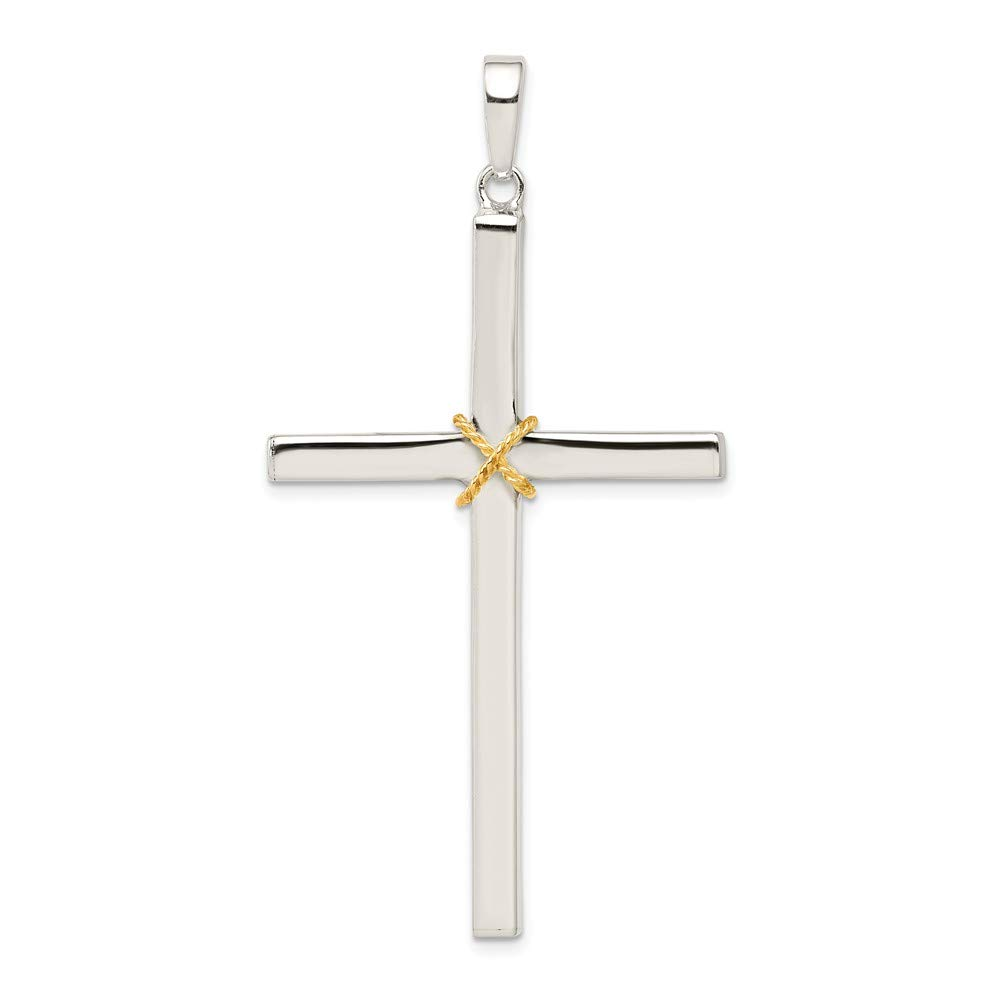 Jewel Tie 925 Sterling Silver Polished Crucifix Cross Pendant