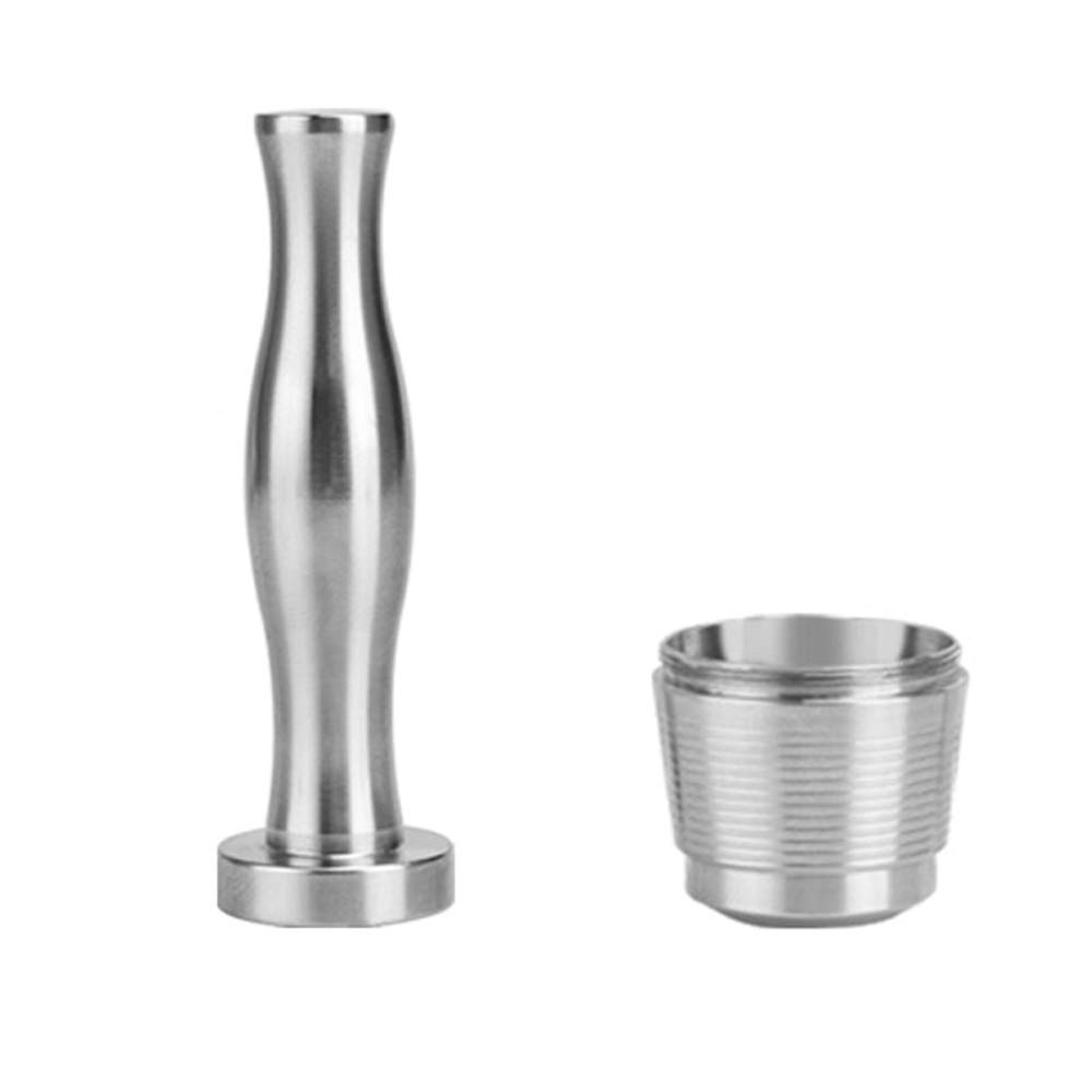 Decdeal Stainless Steel Reusable Coffee Capsules with Press Coffee Tamper Refillable Coffee Pod Filter for Nespresso