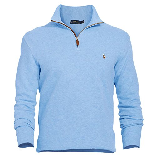Polo Ralph Lauren Men's Estate Rib Half Zip Sweater, XL, Welsh Blue (Half Zip Sweater Blue)