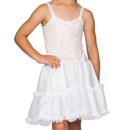 I.C. Collections Big Girls White Bouffant Slip Petticoat - Lace Embellished, 8 ()
