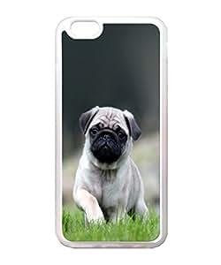 VUTTOO Iphone 6 Plus Case, Cute Pug Dog In Grass Case for Apple Iphone 6 Plus 5.5 Inch TPU Transparent