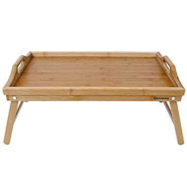 SONGMICS Bamboo Bed Tray Breakfast TV Laptop Table Serving Tray w' Handles Foldable Legs ULLD530