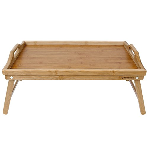 Songmics Bamboo Breakfast Bed Tray Laptop Table Serving