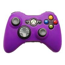 HDE Xbox 360 Silicone Wireless Controller Skin Protective Rubber Case Cover for Microsoft Xbox 360 Game Pad (Purple)