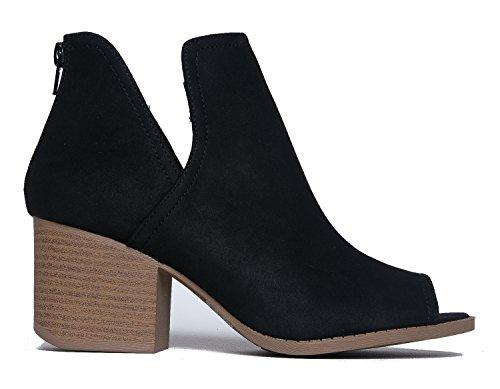 J. Adams Botte Basse Western - Découpé Talon Empilé - Chaussure De Marche Confortable - Onglets Noir Pu **