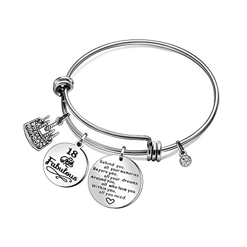 CAROMAY Birthday Cake Bangle Bracelets Lucky Birthstone Adjustable Love Gift for Girls Friends Behind You All You Memories (18th Birthday)