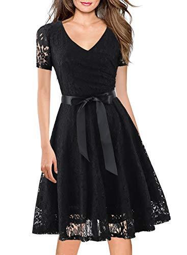 1960 Vintage Dress for Women Faux Wrap Cocktail Party Lace Floral Clothes Ladies 50s Dresses Casual Work Clothing with Belt 158 (XL, Black) ()