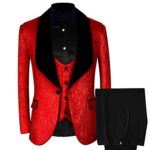 WEEN CHARM Men Shawl Collar 3 Pieces Suits Peaked Lapel Blazer Jackets & Vest & Trousers Prom Tuxedo Red