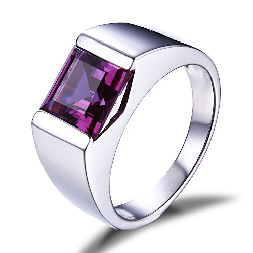 Jewelrypalace Mens 3.4ct Square Created Alexandrite Sapphire 925 Sterling Silver Ring Size 10