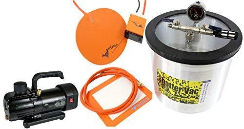 SVac Ultimate Vacuum Chamber Kit- SVac 3 Gallon Aluminum Vacuum Degassing Chamber, MINI 3CFM Single Stage Vacuum Pump, and 9