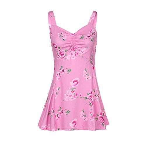 Lotus.flower Women Sleeveless Floral Printing Tanks Sexy Tropic Tops Summer Hot Vest T-Shirt (Pink, M) (Doll Sleeveless Tee Baby)