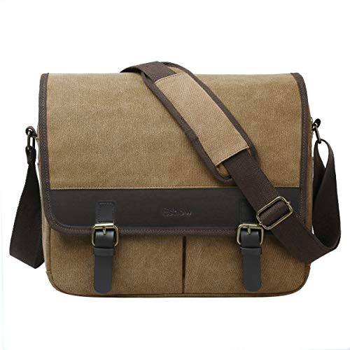 09696f909622d Galleon - Eshow Men's Retro Canvas Crossbody Shoulder Messenger Bag Brief  Business Bag (Brown-5210)