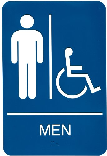 Headline Sign 8358 ADA Wheelchair Accessible Men's Restroom Sign with Tactile Graphic, 6 Inches by 9 Inches, Blue/White
