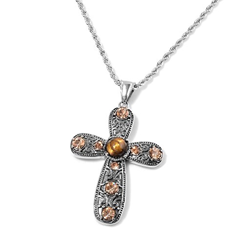 Shop LC Delivering Joy Round Tigers Eye Champagne Color Cubic Zircon Crystal Black Oxidized Cross Chain Pendant Necklace ()