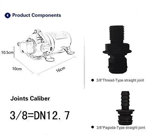 GSLOOK AC110V/115V High Pressure Diaphragm Water Pump 160PSI 8L/min, Self-priming Misting Booster Pump Sprayer for Caravan/RV/Boat/Marine by GSLOOK (Image #2)
