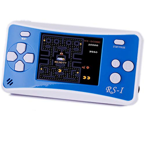 "Children's Handheld Game Console,JJFUN RS-1 Classic Retro Game Player with 2.5"" LCD 152 Old School Games Portable Travel Video Games,The 80's 90's Arcade Video Gaming System Controller for Kids-BLUE"
