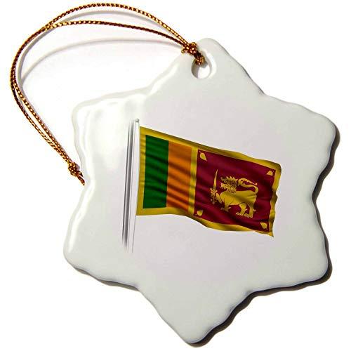 3dRose Carsten Reisinger Illustrations - Flag of Sri Lanka on a flag pole over white Lankan - 3 inch Snowflake Porcelain Ornament (orn_157274_1)