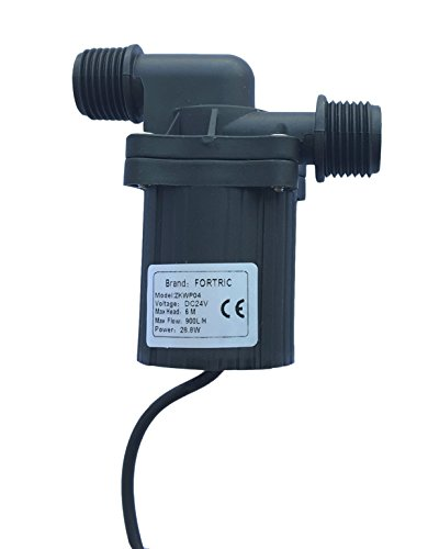 FORTRIC ZKWP04 240GPH DC 24V 1.2A Water Oil Fountain Pump CPU Cooling Brushless Magnetic Drive Centrifugal Submersible Pump for Aquarium Fish Tank Max Lift 20ft (Pump Water Centrifugal compare prices)
