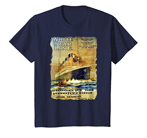 Kids Titanic Sailing Ship Cruise Vintage Poster T-Shirt 10 Navy