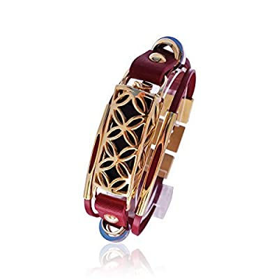 Fitbit Bracelet Fusion - FitBit flex Jewelry - RED/ Gold or Silver - 925 sterling silver - rhodium plated- real leather