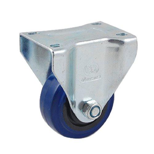 """UXcell Blue Steel Plate 3"""" Single Rubber Wheel Fixed Rigi..."""
