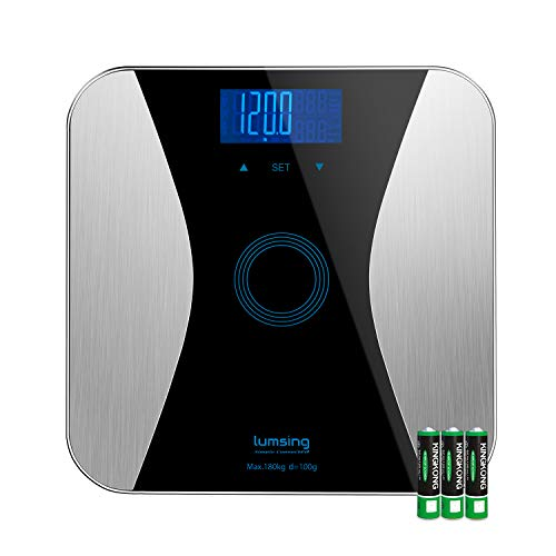 (Lumsing Bathroom Body Fat Scale-Digital Body Monitor Analyzer Measuring Weight, BMI, Body Fat, Water, Muscle, Bone, Calorie (Batteries Include))