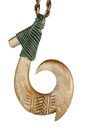 Earthbound Pacific Hand Carved Hawaiian Antiqued Bone Fish Hook - Carved Hook