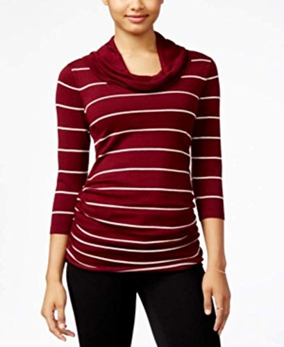 PINK ROSE Juniors' Striped Cowl-Neck Fine Gauge Sweater - Small by PINK ROSE (Image #1)