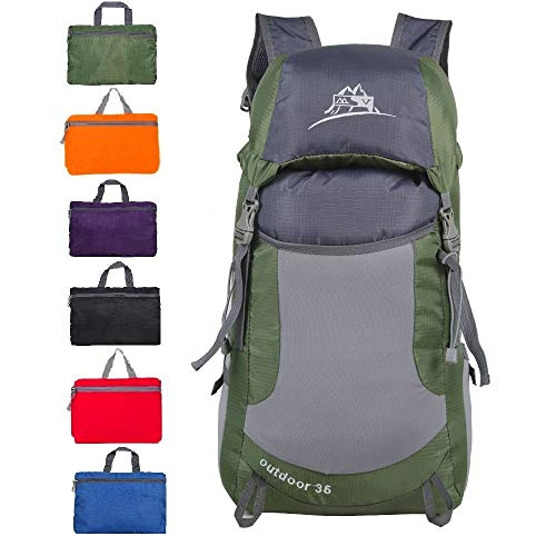 Luisport Waterproof Foldable Hiking Backpacks Travel Backpack Small Backpacks Cute Backpacks for Women and Girls Best Backpacks for Men Camping Backpacks (Army Green)