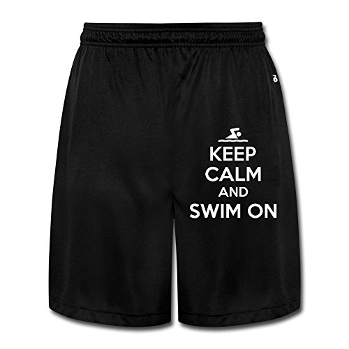 Runy Men's Keep Calm And Swim On Slim Sports Jogging Shorts With Pocket Black