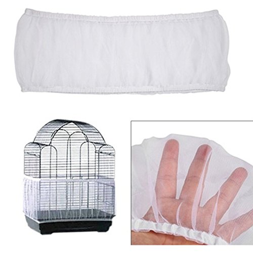 Asdomo Bird Cage Mesh, Bird Cage Skirt Mesh Bird Seed Catcher Net Cage Cover(S/M/L)