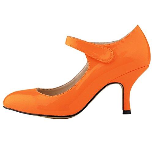 HooH Women's Kitten Heel Wedding Pumps Mary Jane Shoes Orange
