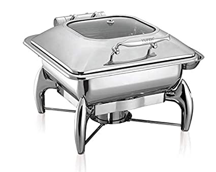 Stainless Steel Square Chafing Dish with See Through Hydraulic lid and Stainless Steel Stand and Burner – 6 Ltrs Capacity
