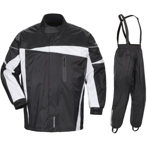 Street Bike Suit (Tour Master Defender 2.0 Men's 2-Piece Street Bike Racing Motorcycle Rain Suit - Black/Black / Large by Tourmaster)