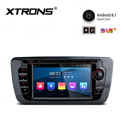 XTRONS Android 8.1 Car Stereo Radio DVD Player 7 Inch Touch Screen Double DIN Head Unit Supports GPS Navigation WiFi Bluetooth 5.0 USB SD Backup Camera DVR Full RCA for Seat Ibiza